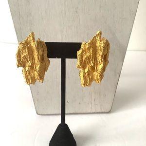 Handmade in 1991 metal over gold earring